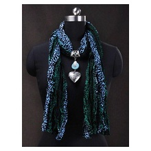 Vogue Leopard Animal Print Heart Pandent Scarf Necklace